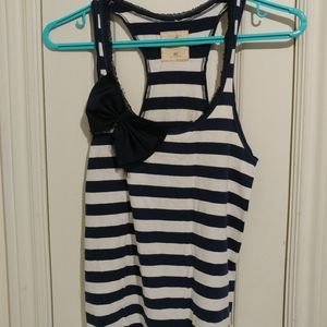Hollister XS striped racerback tank with bow